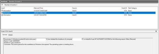 Windows 2016 Server mysterious shutdown issues - Make work easier