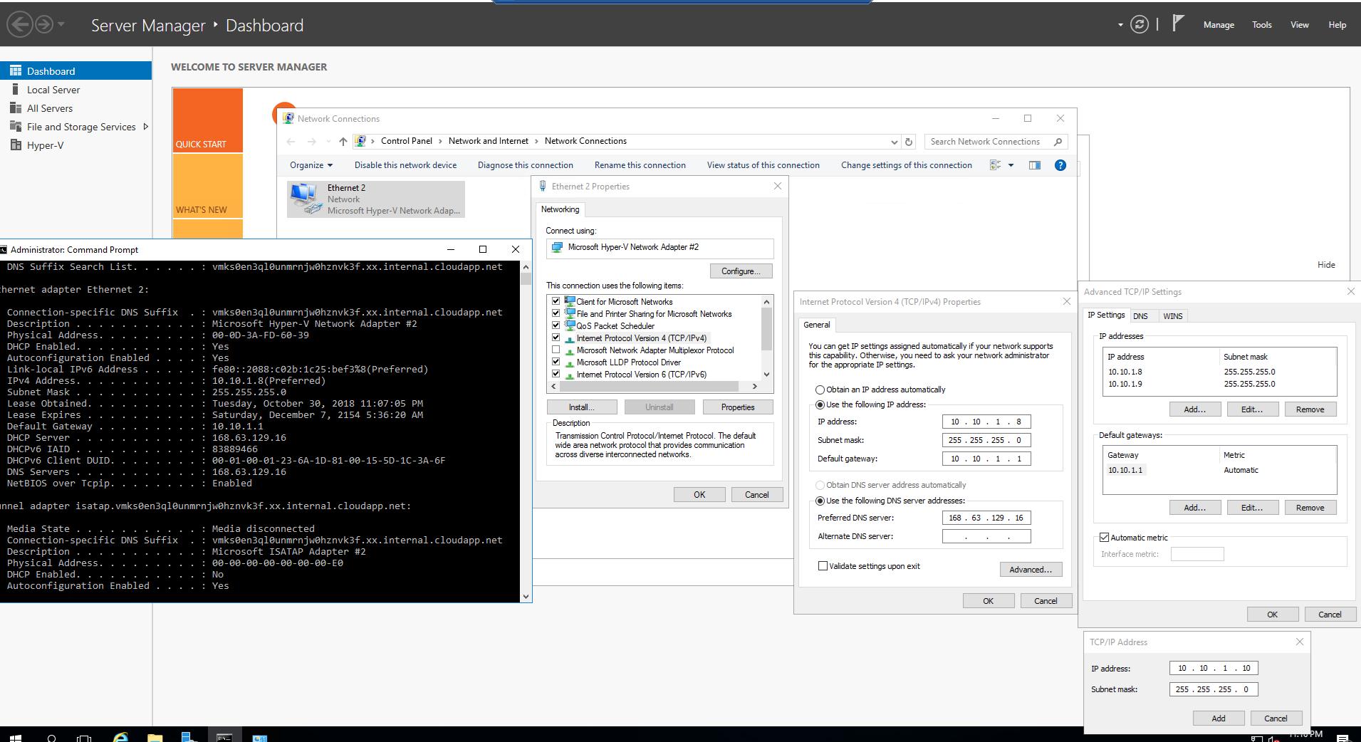 Build Hyper-V nested VM with multiple public IP addresses at Azure